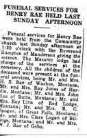 Funeral Services For Henry Rae